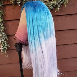 new custom dyed blue lace part wig